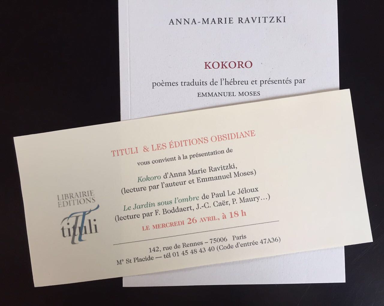 Anna-marie Ravitzki | Kokoro invitation + book in French